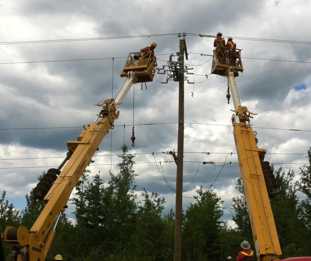 Power Lineman hard at work