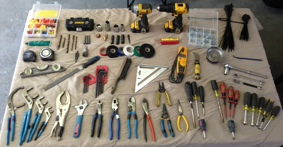 This is my tool kit laid out on a table in my garage